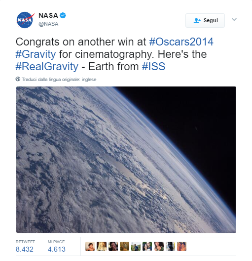 real time marketing oscar 2014 nasa