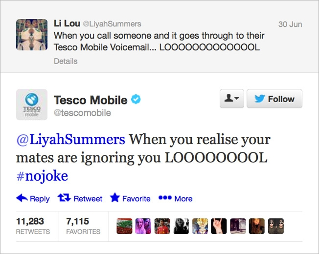 Tesco Mobile tweet