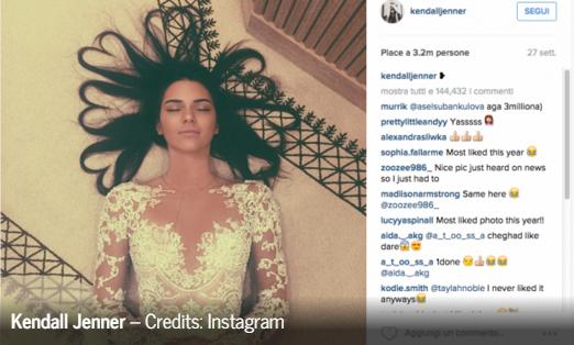Kendall Jenner, una foto da milioni di like, la più cliccata del 2015