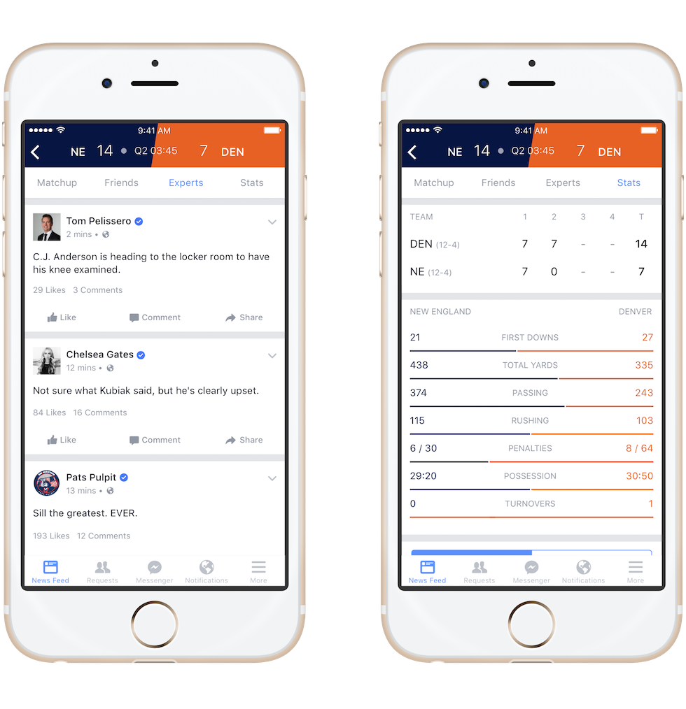 Facebook Sports Stadium, per commentare le partite sui social
