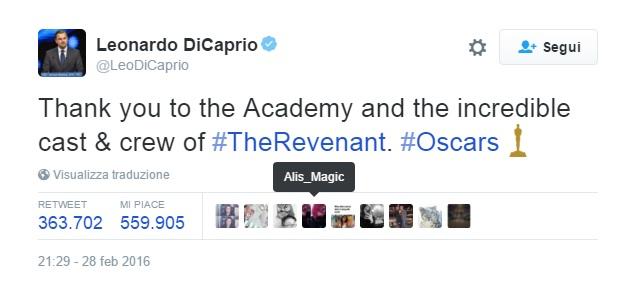 tweet oscar Di Caprio