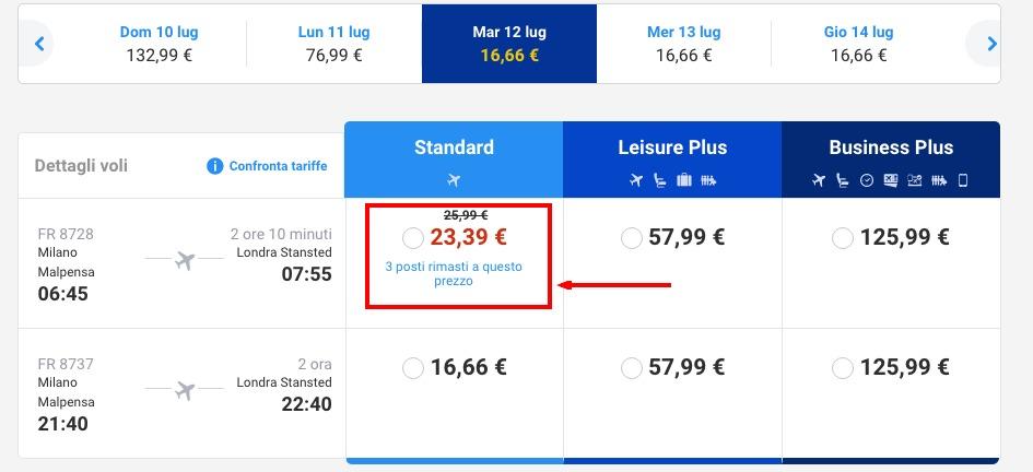 sito web Ryanair scarsità