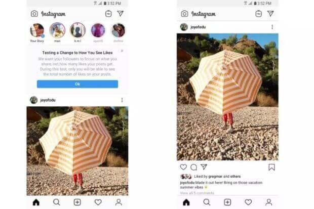 Instagram nasconde i like