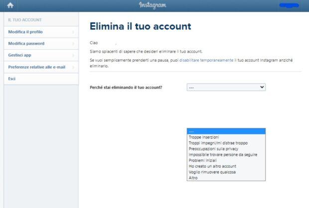 Eliminare account social - Instagram definitivo
