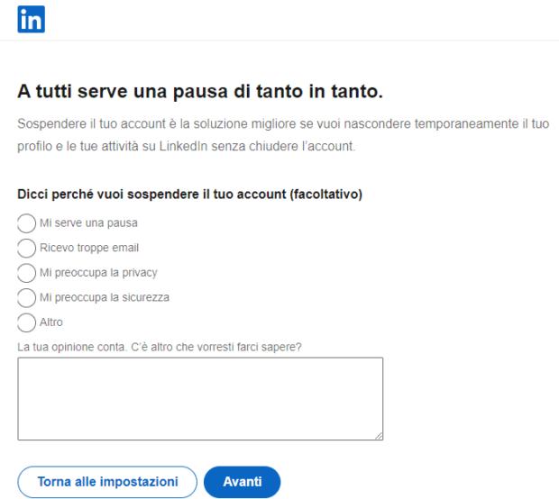 Eliminare account social -LinkedIn Temporaneo