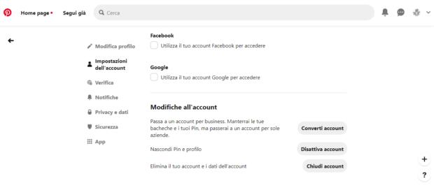 Eliminare account social - Pinterest definitivo e Temporaneo