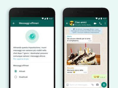 Arrivano i messaggi effimeri di WhatsApp