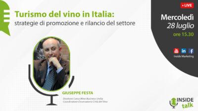 Quanto ha inciso la pandemia sul turismo del vino in Italia? E come rilanciare il settore?  Se ne parlerà in una diretta di Inside Marketing con Giuseppe Festa