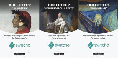 """Switcho """"riscrive la storia"""" con Dante, Munch e Luigi XVI per la campagna di comunicazione out-of-home"""